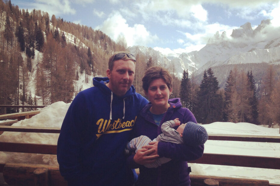 Family with baby in the mountains