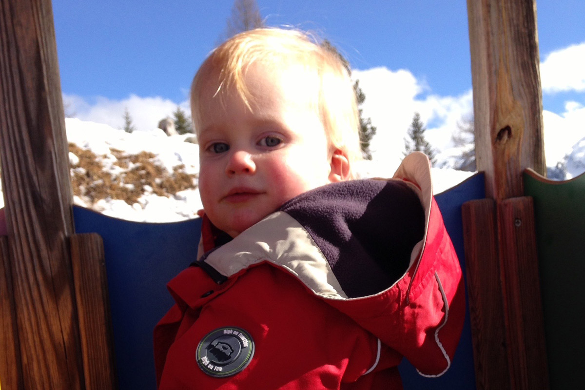 Toddler in the mountains